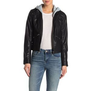 BLANKNYC Hood Faux Leather Moto Jacket Black
